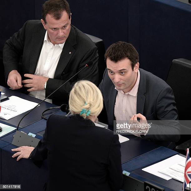 French Front National farright party's President and Member of the European Parliament Marine Le Pen and FN vicepresidents Louis Aliot and Florian...