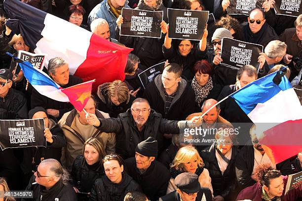 French Front National party president Marine Le Pen takes part in a Unity rally Marche Republicaine on January 11 2015 in Beaucaire France The French...