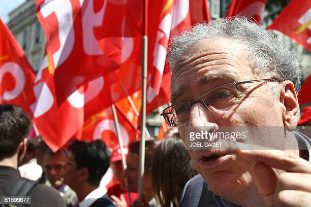 French FSU union leader Gerard Aschieri speaks to the press on June 17 2008 in Paris during a demonstration as part of a nationwide strike called by...
