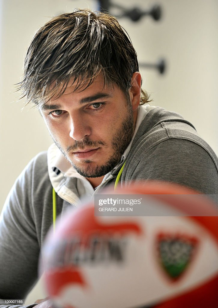 French fullback Benjamin Lapeyre listens to his new team press conference on May 19, 2010 in Toulon, southern France. Lapeyre has joined the French Club of Toulon for the next two seasons.