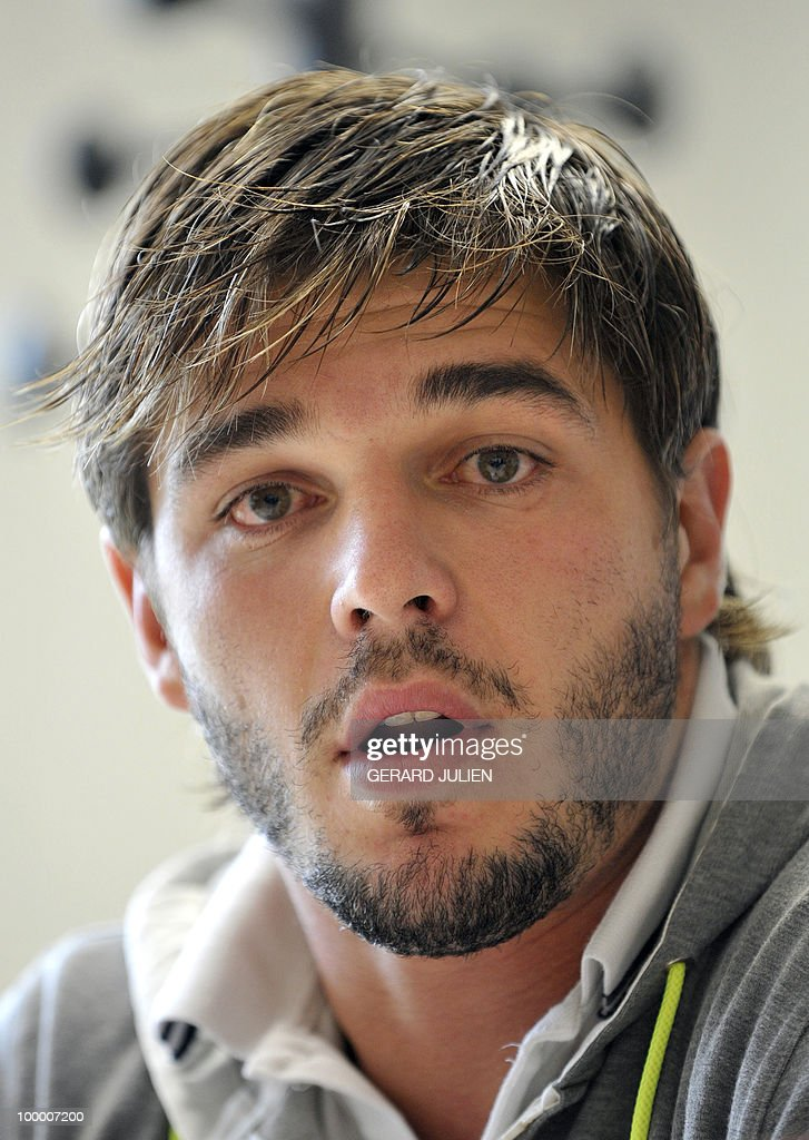 French fullback Benjamin Lapeyre speaks during his new team press conference on May 19, 2010 in Toulon, southern France. Lapeyre has joined the French Club of Toulon for the next two seasons.