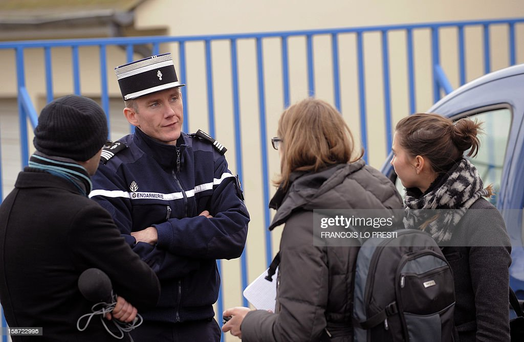 French Gendarme chief of station Mickael Nmery speaks to the press during a search for missing teen Bruno on December 26, 2012 in Ribecourt-Dreslincourt one week after the Down Syndrome affected 17 year old disappeared from the Compiegne region.