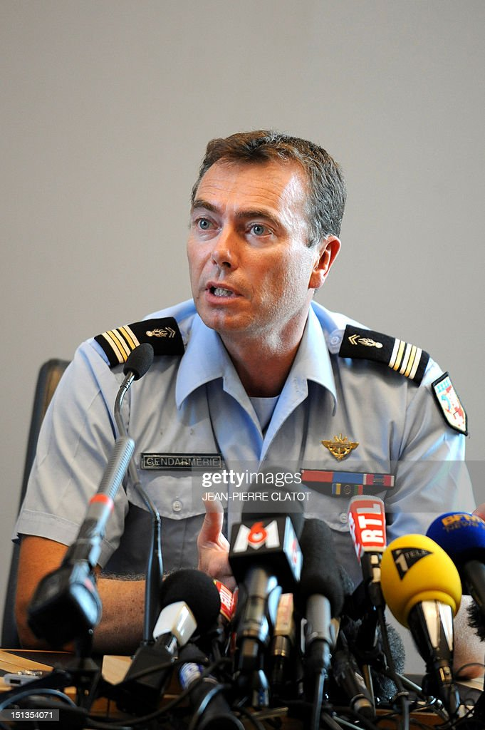 French gendarme colonel Benoit Vinneman gives a press conference at the courthouse of the southeastern French city of Annecy on Septembre 6, 2012, after four people were shot dead in or close to a British-registered car that was found in a forest car park on the edge of the French Alpine village of Chevaline. The car, a BMW, contained the bodies of a man, in the front, and two women who were seated in the back, police said.