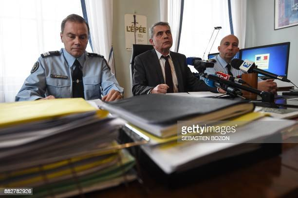 French gendarme Colonel Guillaume Le Blond Mulhouse's prosecutor Dominique Alzeari and Colonel Francois Despres give a press conference at the...