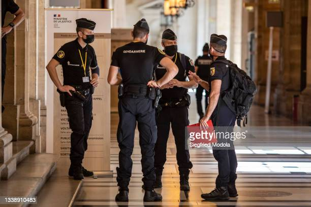 French Gendarmerie stand close to the courtroom where the trial of the 2015 terror attack in Paris will take place from tomorrow, September 7 at the...