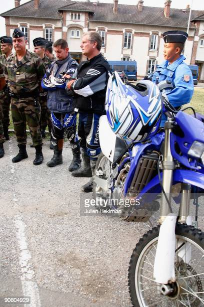 French gendarmes and police motorcyclists listen to a briefing before following the escape of JeanPierre Treiber from the Auxerre prison on September...