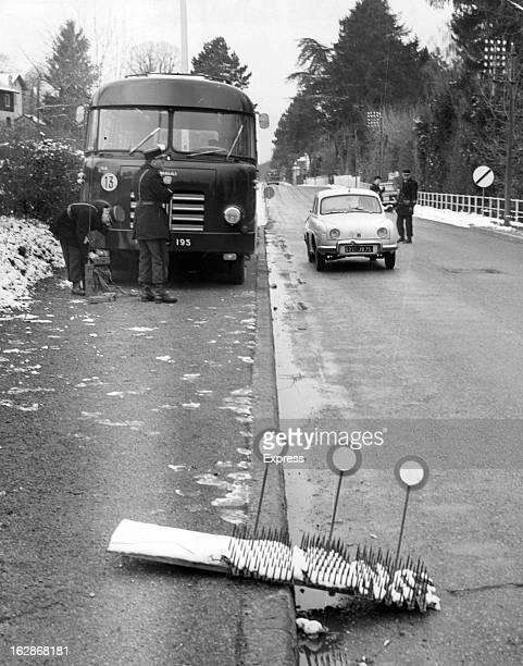 French Gendarmes at Evian laying traffic checks in the approach roads to town 1962