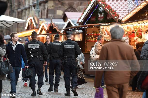 French Gendarmes patrol in the Christmas market area in Strasbourg eastern France on November 24 on the opening day of the Christmas market the...