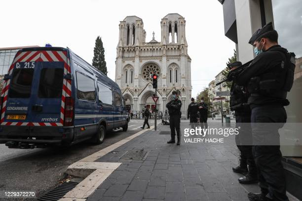 French gendarmes secure the area around the Notre-Dame de l'Assomption Basilica in Nice on October 31 two days after a knife attacker killed three...