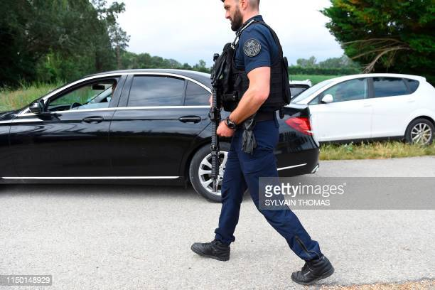French gendarmes secure the road that leads to the property that the former United States of America, Barack Obama and his family will occupy during...