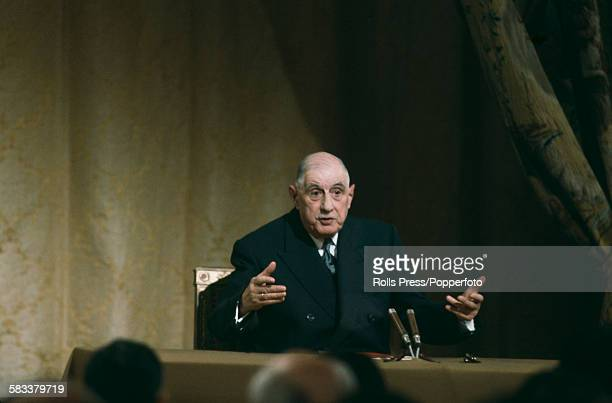 French General and President of France Charles de Gaulle pictured conducting a question and answer session during a news conference at the Elysees...