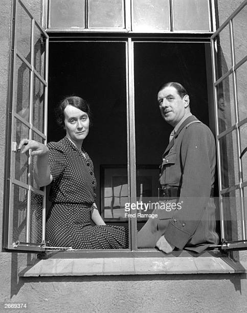 French general and statesman Charles de Gaulle in his Berkhampstead home with his wife Yvonne after fleeing to England from the German occupation of...
