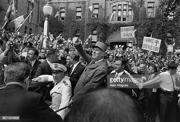 French General Charles De Gaulle arrives to a hero's welcome in Quebec