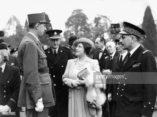 french General Charles de Gaulle with queen mother Elizabeth during visit of military hospital in London october 27 1941