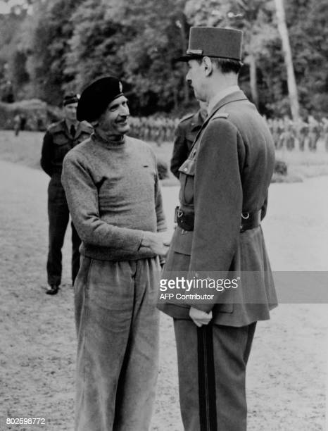 French General De Gaulle meets Marshal Bernard Montgomery on June 14 1944 at the military headquarters near Bayeux after the Normandy landing during...