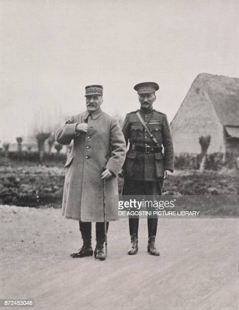 French General Ferdinand Foch and General Cyriaque Gillain Chief of Staff of the Belgian Army on the Yser line Belgium World War I from...