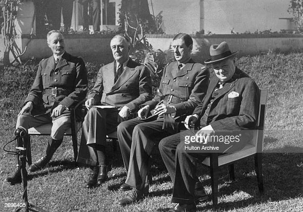 French general Henri Honore Giraud US president Franklin D Roosevelt French general Charles de Gaulle and British prime minister Winston Churchill...