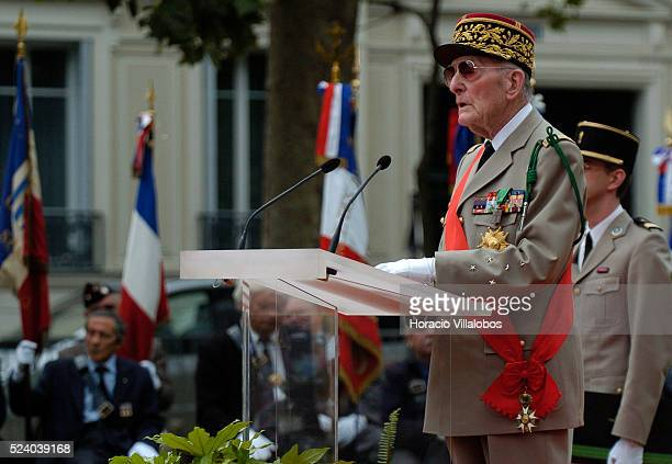 French General of the Army Alain de Boissieu De Gaulle's son in law and Chancelier de l'Ordre de la Liberation speaks at the homage to French general...