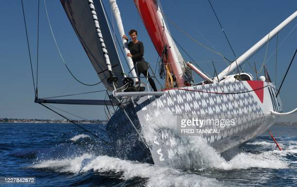 French German skipper Isabelle Joschke sails her Imoca 60 monohull MACSF July 30, 2020 in Lorient, western France.