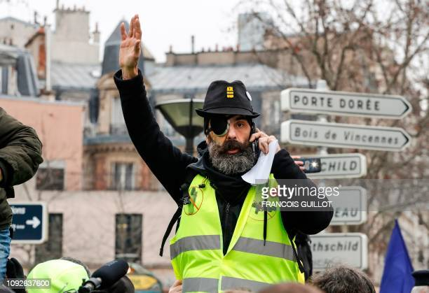 TOPSHOT French Gilet Jaune movement leader Jerome Rodrigues is pictured at the start of a march on February 2 2019 in Paris called to pacifically...