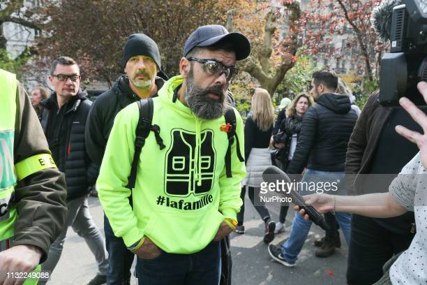 French Gilet Jaune movement leader Jerome Rodrigues speaks with journalists in front of the Sacre Coeur Basilica in Montmartre in Paris on March 23...