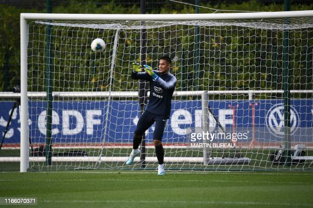 French goalkeeper Alphonse Areola attends a training session in Clairefontaine on September 5 2019