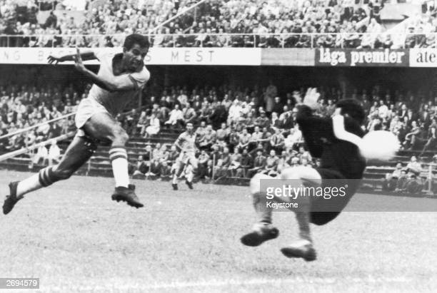 French goalkeeper Claude Abbes dives but fails to save Edvaldo Netto Vava's shot in the World Cup semifinal between France and Brazil in Stockholm...