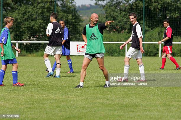 French goalkeeper Fabien Barthez coaches young goalkeepers as part of his community service at Castelmaurou training center Barthez was suspended...