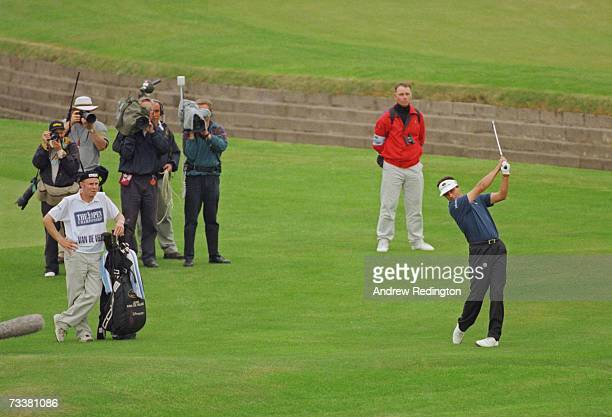 French golfer Jean Van de Velde narrowly misses winning the British Open Championship at Carnoustie 18th July 1999 Here he plays his second shot on...