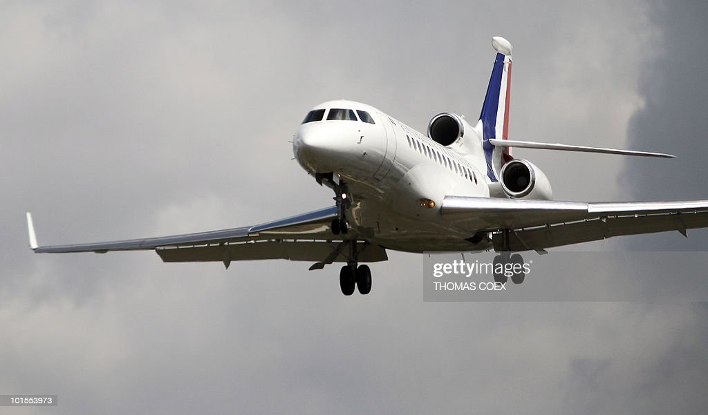 A French government jet Falcon 900 lands in Velizy-Villacoublay military airport, outside Paris, on May 16, 2010 with French academic Clotilde Reiss on board. Reiss, who had been arrested and held in Iran since last July, left Tehran early Sunday for Paris a week after France rejected a US call for the extradition of Majid Kakavand and allowed him to return home.