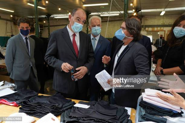 French government spokeman Gabriel Attal and Prime Minister Jean Castex visit a face masks factory in Roubaix near Lille as part of a visit to Lille...