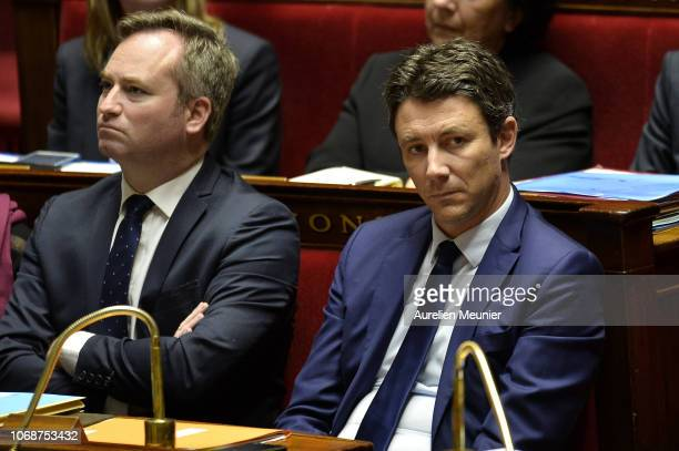 French Government Spokesman Benjamin Griveaux reacts as Ministers answer deputies during the weekly session of questions to the government at...