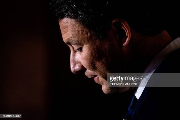 French government spokesperson Benjamin Griveaux delivers a speech and answers questions from the press after a cabinet meeting at the prefecture in...