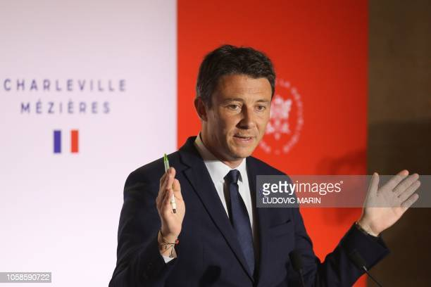 French Government's spokesperson Benjamin Griveaux addresses the press following the cabinet meeting at the Ardennes Prefecture on November 7 in...