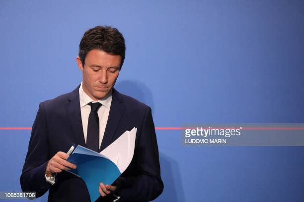 French Government's spokesperson Benjamin Griveaux attends a press conference at the Elysee presidential Palace after the weekly cabinet meeting on...