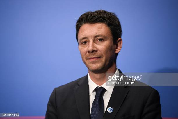 French Government's Spokesperson Benjamin Griveaux attends a press conference on April 27 following the weekly cabinet meeting at the Elysee...