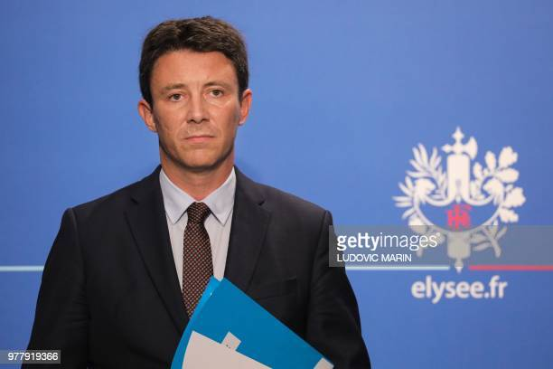 French Government's Spokesperson Benjamin Griveaux attends a press briefing about the Pacte bill the Action Plan for the Growth and Transformation of...