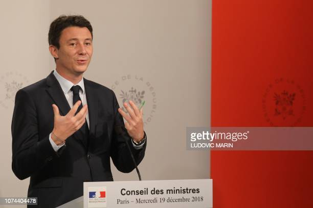French Government's spokesperson Benjamin Griveaux gestures as he gives a press conference after attending a weekly cabinet meeting at the Elysee...