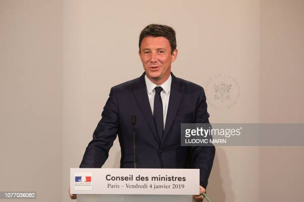 French Government's spokesperson Benjamin Griveaux gives a press conference following the first weekly cabinet meeting at the Elysee Palace in Paris...