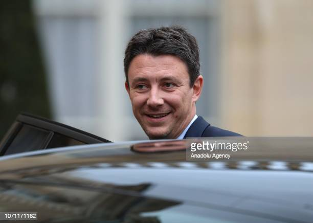 French Government's Spokesperson Benjamin Griveaux leaves after a meeting French President Emmanuel Macron national political leaders unions business...