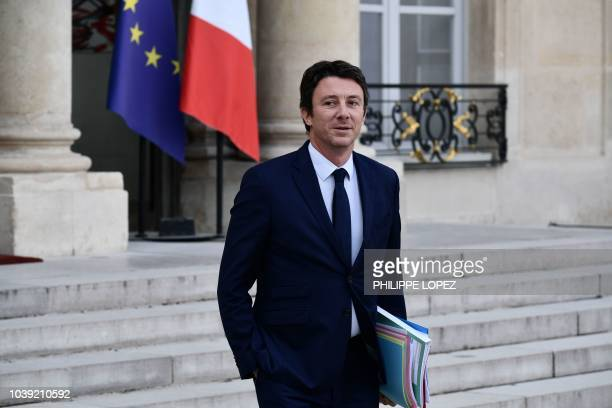 French Government's spokesperson Benjamin Griveaux leaves the Elysee presidential palace in Paris on September 24 2018 after attending the weekly...