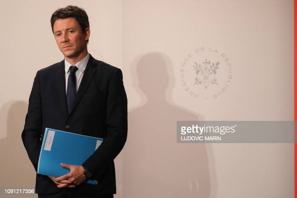 French Government's spokesperson Benjamin Griveaux looks on during a press conference following the weekly cabinet meeting at the Elysee palace in...
