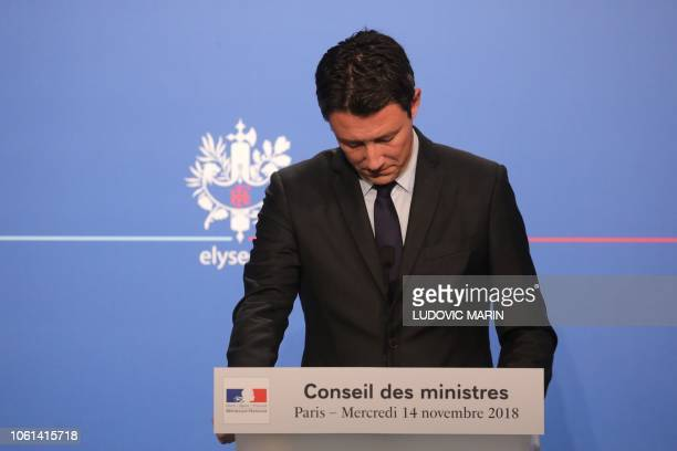 French Government's spokesperson Benjamin Griveaux reacts as he gives a press conference at the Elysee presidential Palace after the weekly cabinet...
