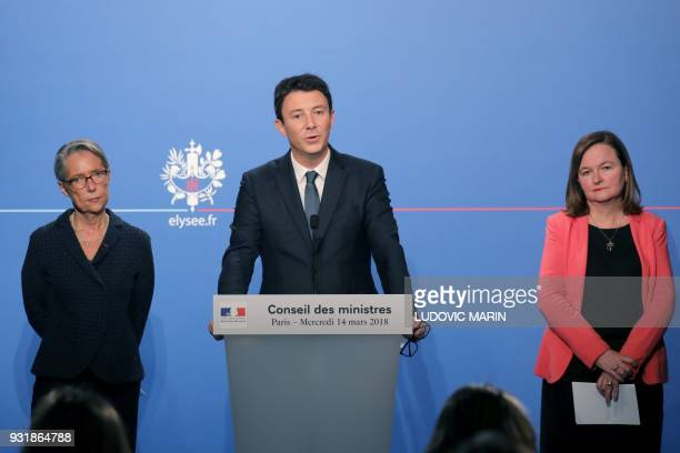 French Government's Spokesperson Benjamin Griveaux speaks as French Transports Minister Elisabeth Borne and French Minister attached to the Foreign...