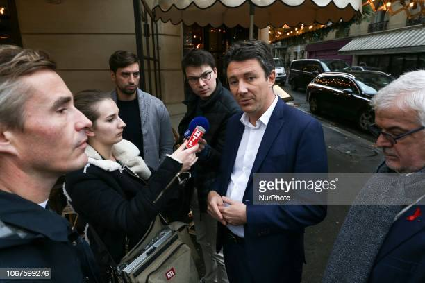 French Government's spokesperson Benjamin Griveaux speaks with press in Kleber avenue in Paris on December 2 a day after clashes during a protest of...