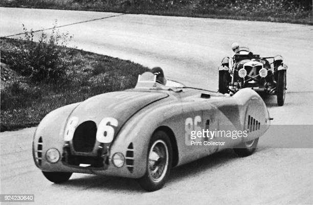 A new streamlined Bugatti followed by a Riley' From Sir Malcolm Campbell's Book of Famous Motorists edited by Sir Malcolm Campbell [Blackie Son...
