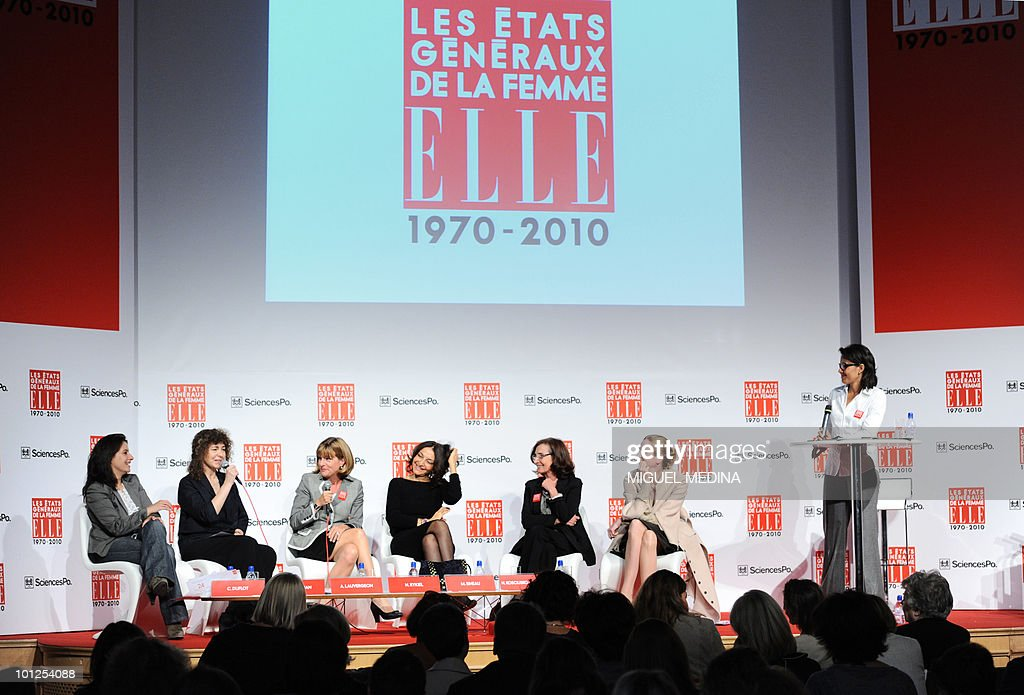 French Green leader Cecile Duflot, editor in chief of ELLE magazine Valerie Toranian, nuclear giant Areva's Chief Executive Anne Lauvergeon, fashion designer Nathalie Rykiel, Research Director of the Centre National de la Recherche Scientifique (CNRS) Mariette Sineau, Junior Minister for Digital Economy Nathalie Kosciusko-Morizet and journalist Audrey Pulvar participate in a debate on the last day of the Women's Forum at French Political Sciences Institute in Paris on May 7, 2010. The meeting that gathers business women, political leaders and artists is organized by French weekly magazine ELLE.