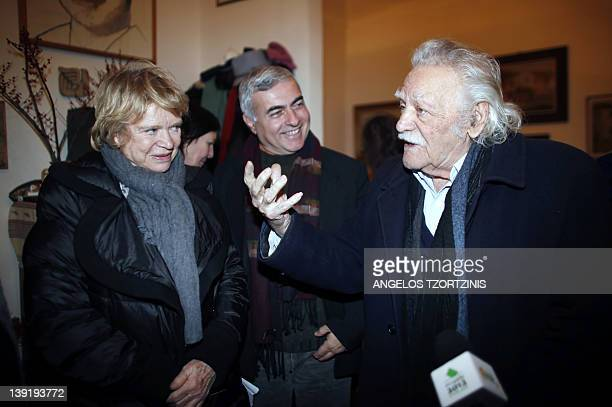 French Green Party Europe Ecologie Les Verts candidate for the 2012 French presidential election Eva Joly visits activist and writer Manolis Glezos'...