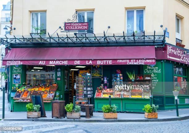 french grocery store - fachada supermercado imagens e fotografias de stock