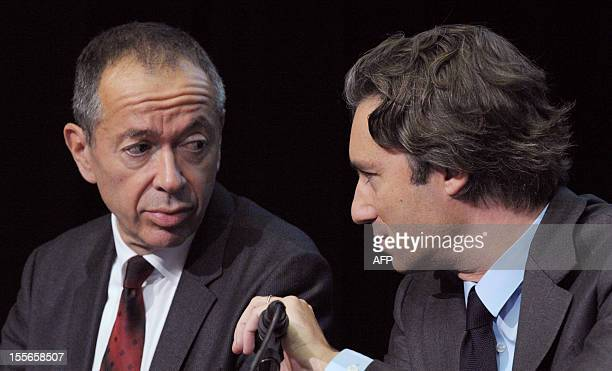 French group M6 board of directors vice president in charge of the business activities Robin Leproux listens to Laurent Solly head of TF1 Publicite...
